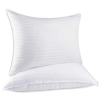 RENPHO Down Alternative Bed Pillows for Sleeping, Comfortable Plush Fiber Fill Pillow Mid Loft Strip Cotton Pillow Cover 2 Pack, Queen Size