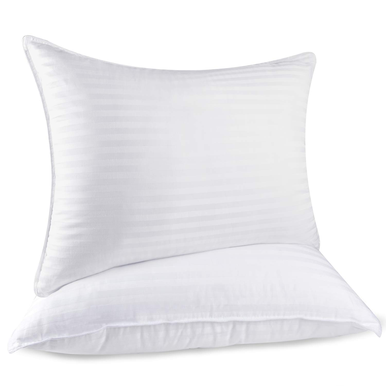 RENPHO Bed Pillows for Sleeping,Hotel Collection Plush Fiber Fill Pillow Down Alternative Pillow Mid Loft Strip Cotton Pillow Cover 2 Pack, Standard Size