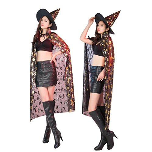 Witch King Costume Pattern (Cywulin Women New Costumes Hooded Satin Cloak Coat Wicca Robe Medieval Cape Shawl for Halloween Party witch Party+Hat Set (Gold))