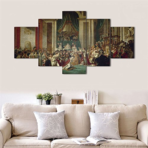 Notre Dame Cathedral Pictures - Napoleon's Coronation Ceremony at Notre Dame Cathedral Modern World Classic Painting by David Replica Wall Art 5 Pieces Prints and Poster Pictures Home Decor Set Wooden Framed (60''Wx32''H)
