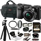 Sony Alpha ILCE-6000L/B a6000 Digital Camera with 16-50mm Lens Bundle with Accessory Bundle (Black)