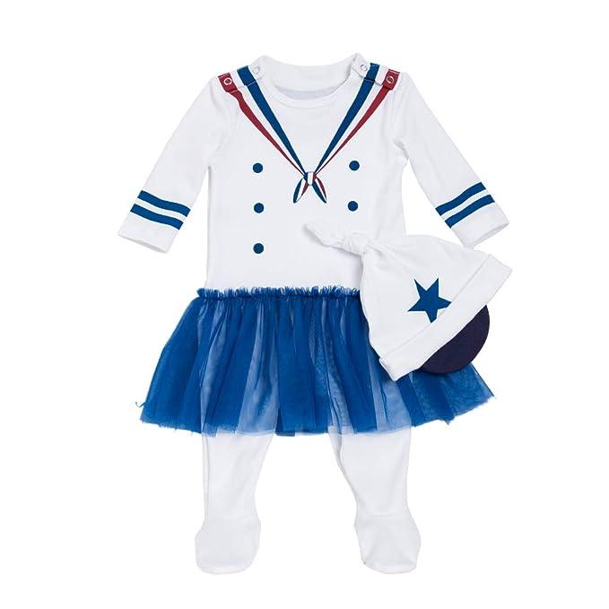 Liyukee - Bebé Niñas Niños Marinero Disfraz Bodies con Gorro, Manga Larga Blanco Recién Nacido