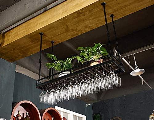 市販  ワイングラスラックヴィンテージ天井マウントハンギングワインボトルホルダー2層工業用鉄製のステムウェアラック 贈答品 キッチンバーパブラック