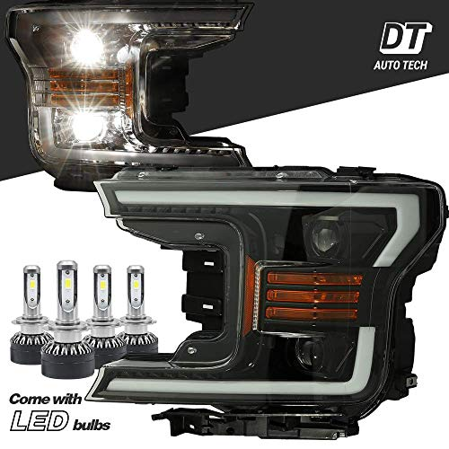 Projector LED High/Low Beams Headlights Headlamps Assembly Switchback DRL+Turn Signal For 2018-2019 F-150 F150 (Gloss black projector with LED light bulbs with Sequential Amber Turn Signal)