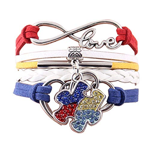 (JewelryJo Infinity Love Heart Jigsaw Puzzle Autism Awareness Braided Leather Rope Wrap Bracelets for Men)
