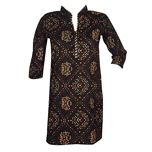 Black Cotton Kurta Kurti Printed Women Wear Indian Clothing