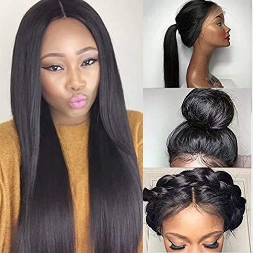 Straight Human Hair Wig Human Hair Lace Human Hair Wigs For Black Women Remy Hair Brazilian Straight Lace Front Wigs 180% Density ( 24