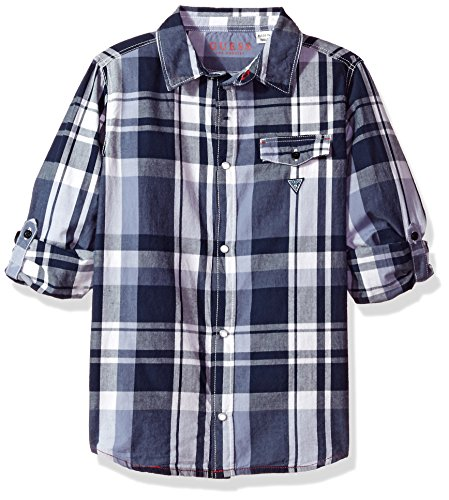 GUESS Boys' Big Roll Sleeve Plaid Button Down Shirt, Blue/White Check, 12 ()
