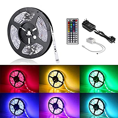 LE 12V Flexible RGB LED Strip Light Kit, Colour Changing, 150 Units 5050 LEDs, Non-Waterproof , Remote Controller and Power Adaptor Included, LED Tape, Pack of 16.4ft/5m
