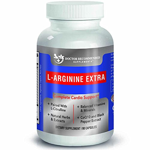 (Doctor Recommended L-Arginine Supplement - Supports Muscle Mass - Improves Blood Flow - Nitric Acid Precursor - Blended with Vitamins and Cardio Support Ingredients - 100% Vegetarian - Made in USA)