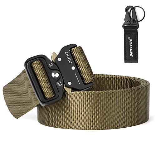 Gun Belt Well-Built Military Waist Belt SANSTHS No Holes Mens Outdoor Belt Tan Cobra Buckle Belt (Tan Cobra Buckle Belt)