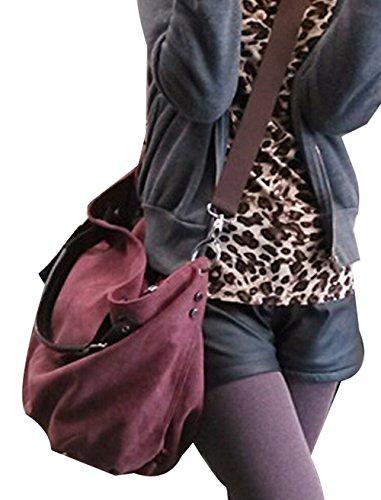 DATO Shoppers Multifuncional Vino Mujer Bandolera Bolso Totalizador Grande tinto Bolsos Moda de de Retros Bolso para Hombro Bolsos Hobo Tote Lona 7Zn7SHwqr