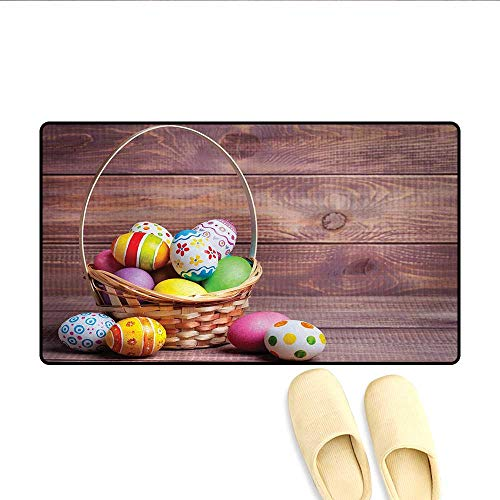 """Bath Mat,Colorful Eggs with Flowers and Polka Dots in a Weave Basket on Wooden Rustic Pattern,Door Mat Small Rug,Multicolor,Size:16""""x24"""""""