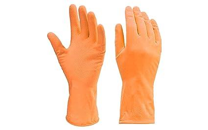 DeoDap Cleaning Gloves Reusable Rubber Hand Gloves, Stretchable Gloves for Washing Cleaning Kitchen Garden - Orange