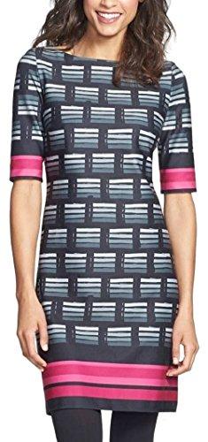 Eliza J Women's Print Ponte Knit Shift Dress (16, Black)