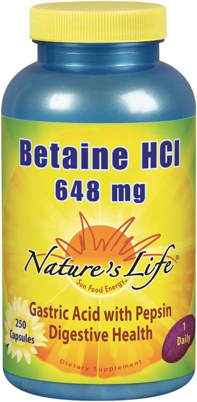 Nature s Life Betaine HCL Capsules, 648 Mg, 250 Count