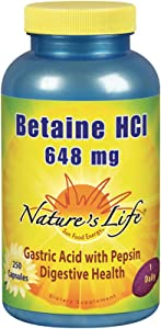 Nature's Life Betaine HCL Capsules, 648 Mg, 250 Count