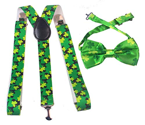 St. Patrick's Day Suspender Bow Tie Cosplay Costume Set for Men Women (Clover) -