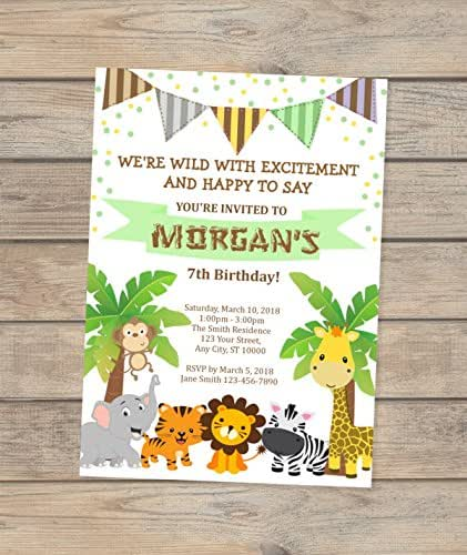 Amazon.com: Safari Birthday Invitation, Jungle Animals
