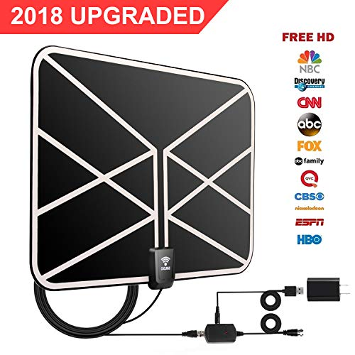 HD TV Antenna, 2018 Newest Indoor Digital TV Antenna 60-80 Miles Long Range with Amplifier Signal Booster 16 Ft Coax Cable for Free 1080P 4K VHF UHF Freeview Television Local Channels by COOLWAS