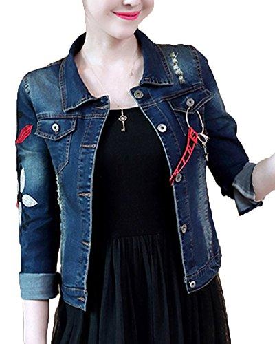 Veste en Jeans Court Floral Brod pour Femme Comme Image