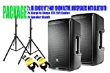 PACKAGE! 2 x JBL EON610 10'' 2-WAY 1000W ACTIVE LOUDSPEAKERS WITH BLUETOOTH + 2x SPEAKER STANDS +2x XLARGE TO XLARGE XTX 25FT CABLES