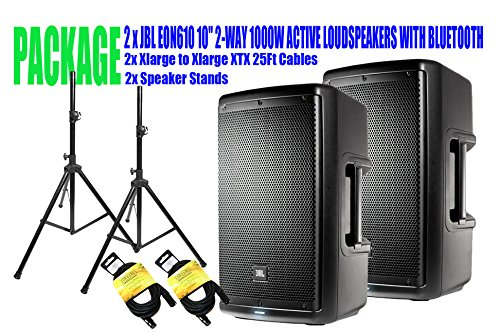 PACKAGE! 2 x JBL EON610 10' 2-WAY 1000W ACTIVE LOUDSPEAKERS WITH BLUETOOTH + 2x SPEAKER STANDS +2x XLARGE TO XLARGE XTX 25FT CABLES