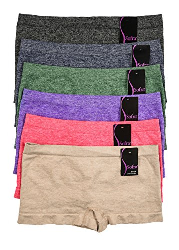 WS Women's Seamless Sofra Panty BoyShorts Stretch Classy Sexy Multi-6 pack (Heather)
