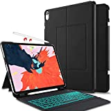 IVSO Keyboard Case for iPad Pro 12.9' 2018 [QWERTY], Ultra-Slim Backlit Cover Case with Undetachable Wireless keyboard for Apple iPad Pro 12.9 inch 2018, Oil