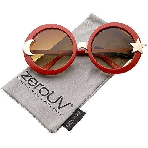 zeroUV - Women's Moon And Star Metal Temple Oversize Round Sunglasses 55mm (Red / - Red Star Sunglasses