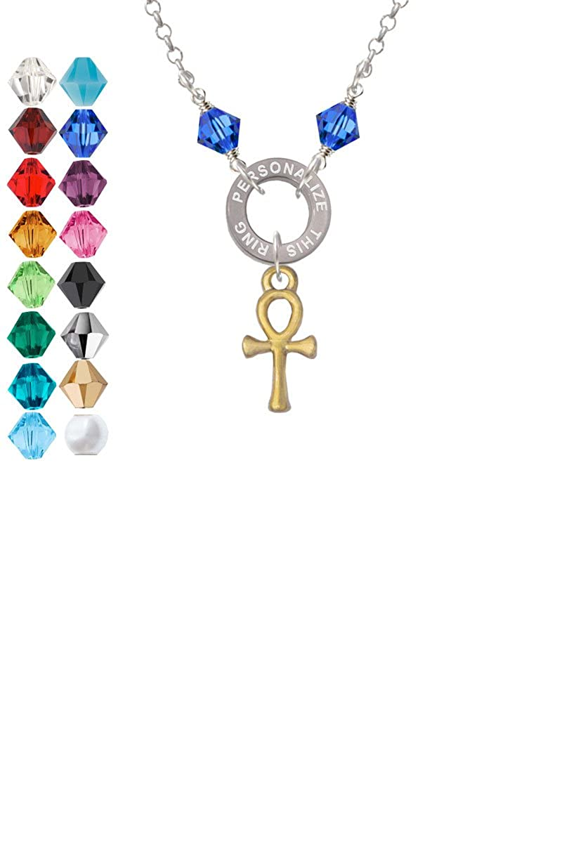 Small Gold Tone Ankh Custom Engraved Name Ring Crystal Necklace
