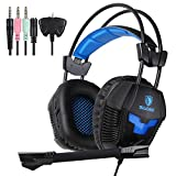Yanni PS4 Gaming Headset, SA921 Lightweight Stereo Headphones Over Ear with Mic, Volume Control for PC Mac Computer iPhone Smart Phone Laptop iPad Mobile(Black Blue) For Sale