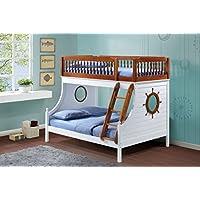 ACME Furniture 37600 Farah Twin over Full Bunk Bed, Twin/Full, Oak & White