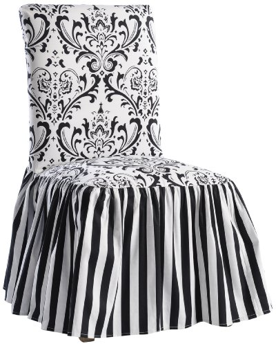 Classic Slipcovers Damask/Stripe Ruffled Long Skirt Dining Chair Slipcover, Black/White (Slipcovers For Dining Room Chairs With Rounded Backs)