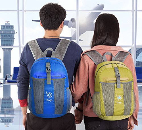 Bago Lightweight Backpack. Waterproof Collapsible Rucksack for Travel and Sports. Foldable and Packable Daypack for Adults, Teens and Children. (DeepBlue)