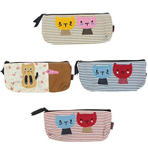 niceeshop(TM) Portable Sac à Stylo Rectangulaire et en Canevas, avec Style de Chat, Kit de 4