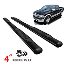 "Scitoo 2Pcs 4""Oval Black Carbon Powder Coated Steel Nerf Bars Running Boards Side Bars For 2005-2017 Toyota Tacoma Double Cab"