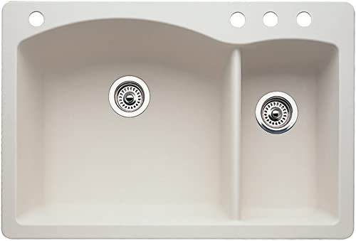 Blanco 440201-4 Diamond 4-Hole Double-Basin Drop-In or Undermount Granite Kitchen Sink, Biscuit