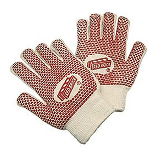 (MCR Safety 9460K Red Brick Hot Mill Glove with Nitrile Palm Coating, Terrycloth, Large, Red/Off White (Pack of 12))