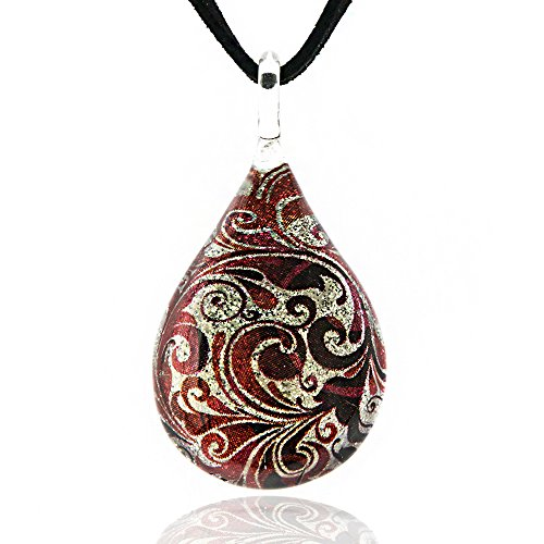 Chuvora Hand Blown Venetian Murano Glass Glitter Red Flower Art Teardrop Pendant Necklace, 17-19 inches