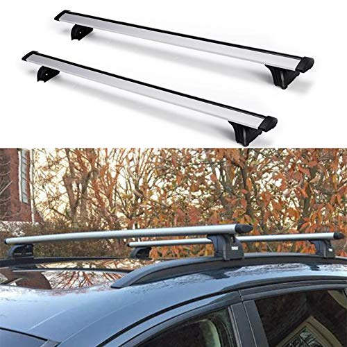 "Younar 47.6"" Roof Rack Cross Bar Car Top Luggage Carrier Cargo Side Rails Adjustable Aluminum Universal for Audi Q7 Q3 Q5 BMW X1 X5"