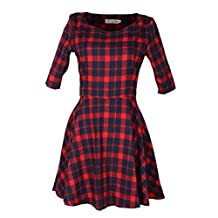 Coromose Fashion Women Round Neck Dress Summer Half Sleeve Red Plaid Dress