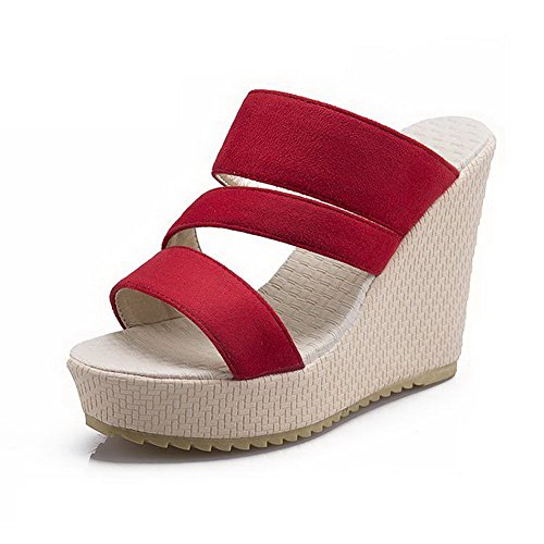 AmoonyFashion Womens Pull-on Open Toe High-Heels Imitated Suede Solid Platforms & Wedges Red 2kddlOu