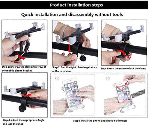 Universal Premium Bike Phone Mount for Motorcycle 8 Plus Holds Phones Up to 4.7-8 Wide 7 8 6s Plus XR S9 Bike Handlebars 7 Plus iPhone 6s Fits iPhone X Galaxy S8 S7 Adjustable