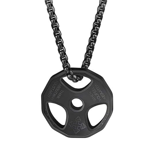 Gymoning - Collar con Colgante para Hombre, diseño de Mancuernas ...