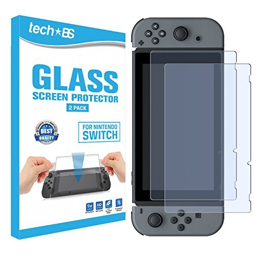 Tech BS Tempered Glass Screen Protector for Nintendo Switch 2017 - Full HD Clarity (2 PACK) ()