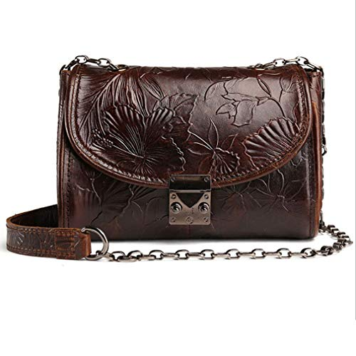 Vintage Shoulder Bag for Women Oil Wax Leather Embossed Casual Satchel Zipper Cross Body Bags Messenger Quilted Purse With Metal Chain Strap -