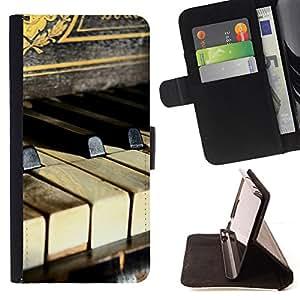 - PIANIST KEYS RUSTIC MUSIC PIANO VINTAGE - - Prima caja de la PU billetera de cuero con ranuras para tarjetas, efectivo desmontable correa para l Funny HouseFOR Apple Iphone 6