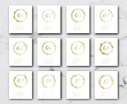 2018 Desktop Wreath Calendar, Card Stock Paper, Handmade Paper, Minimal Art, Christmas Gift, 2018 Calendar, Real Gold Foil, Modern Print by Lovely Decor