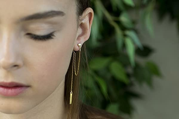Handmade Designer 14K Gold Plated Brass Double Sided Ear Jacket Earrings with Rectangular Stud, Connecting Chain From Front to Back and Long Dangling Bar on Chain